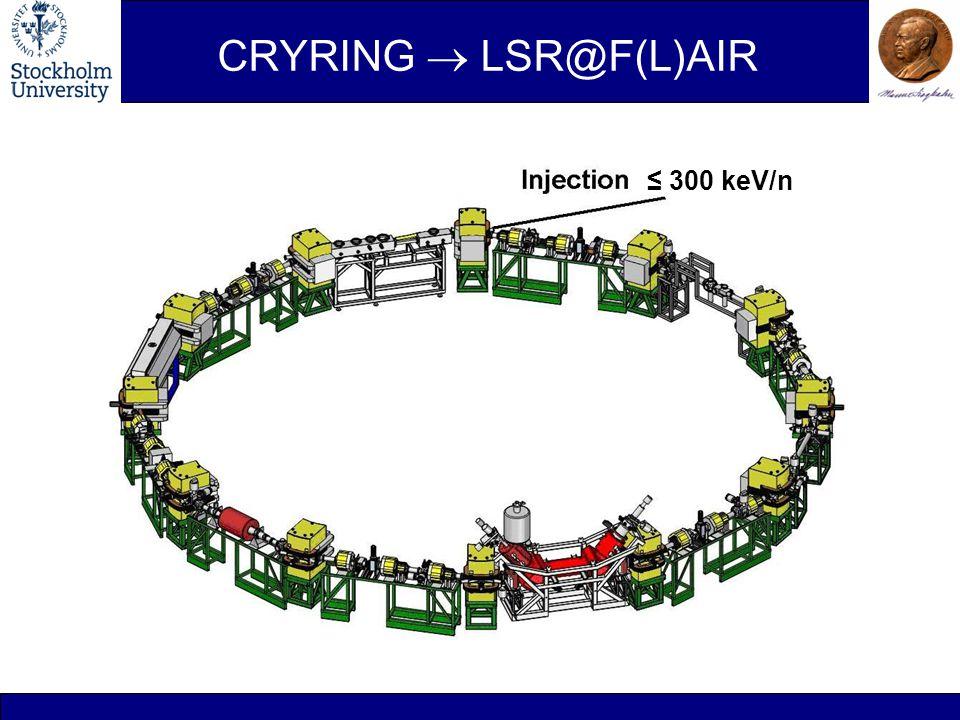 CRYRING  LSR@F(L)AIR ≤ 300 keV/n CRYRING ≤ 300 keV/n