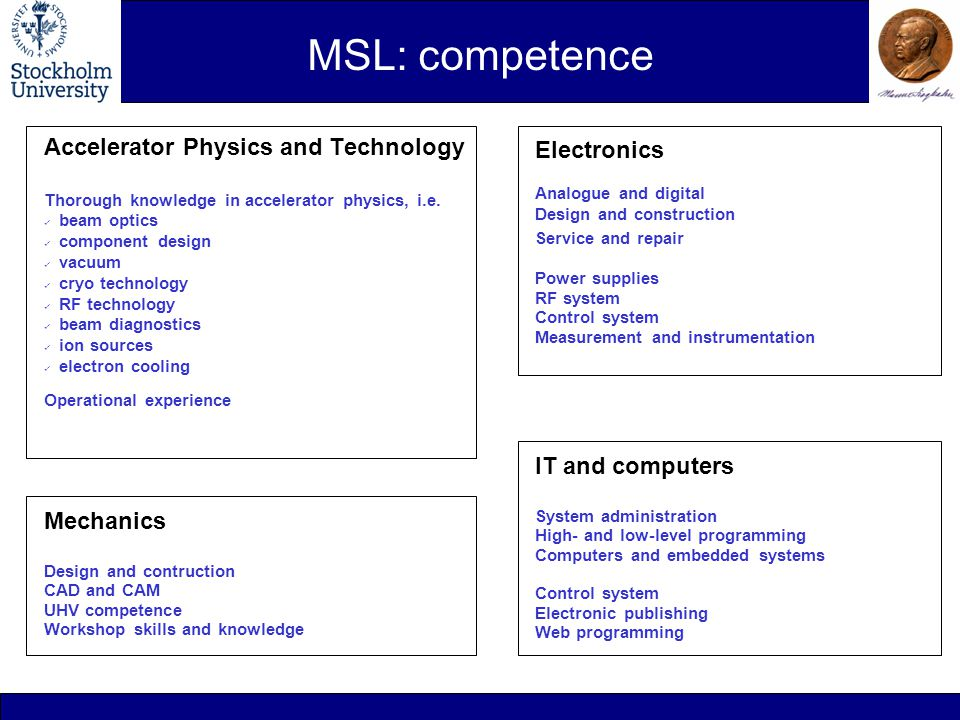 MSL: competence Accelerator Physics and Technology Thorough knowledge in accelerator physics, i.e.