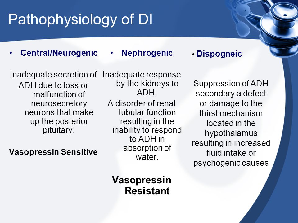 Pathophysiology of DI Central/Neurogenic Inadequate secretion of ADH due to loss or malfunction of neurosecretory neurons that make up the posterior p