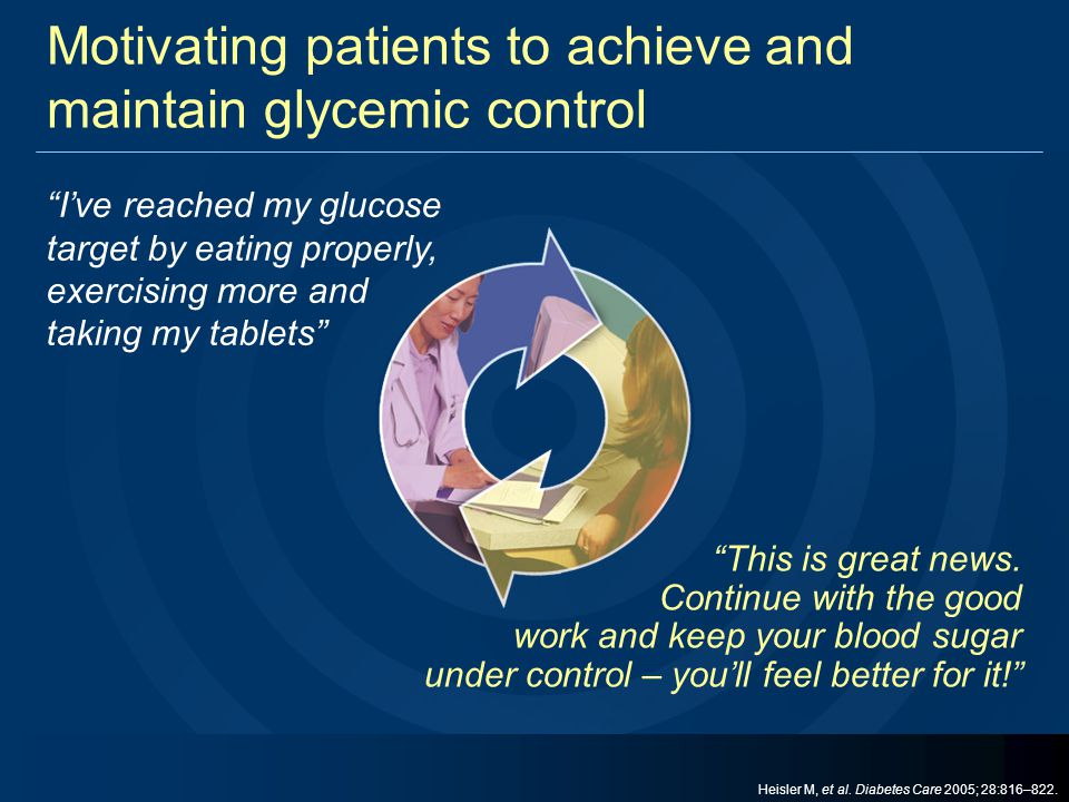 """Motivating patients to achieve and maintain glycemic control """"This is great news. Continue with the good work and keep your blood sugar under control"""