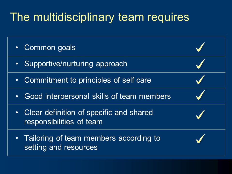 The multidisciplinary team requires Common goals Supportive/nurturing approach Commitment to principles of self care Good interpersonal skills of team