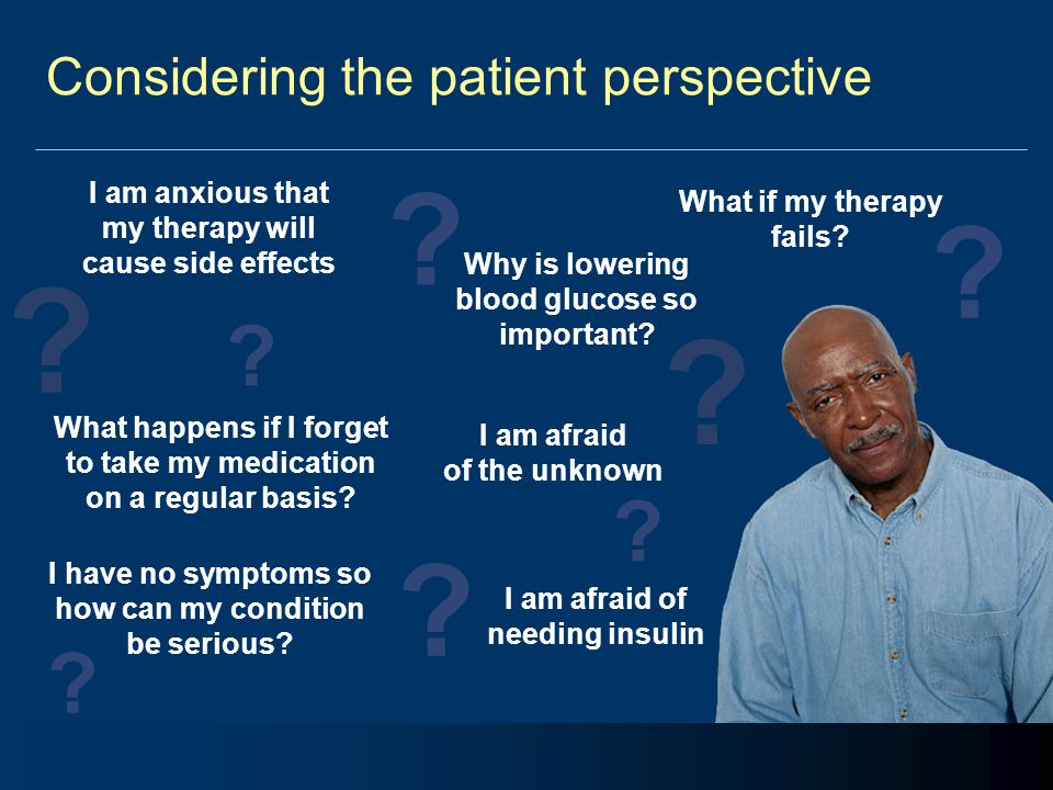 Helping patients to accept their condition Diagnosis of type 2 diabetes = loss of patient's accustomed state of health Patient's willpower and ability to improve outcomes depend on degree of acceptance of the serious nature of their condition Relationship between healthcare professional and patient is critical in this process Lacroix A, et al.