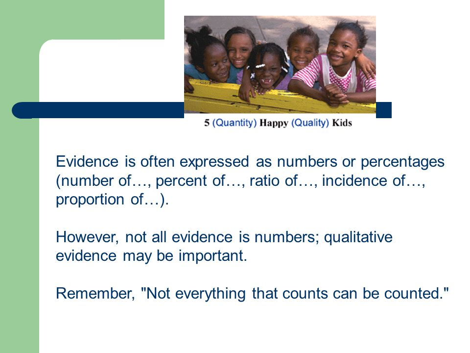 Evidence is often expressed as numbers or percentages (number of…, percent of…, ratio of…, incidence of…, proportion of…).