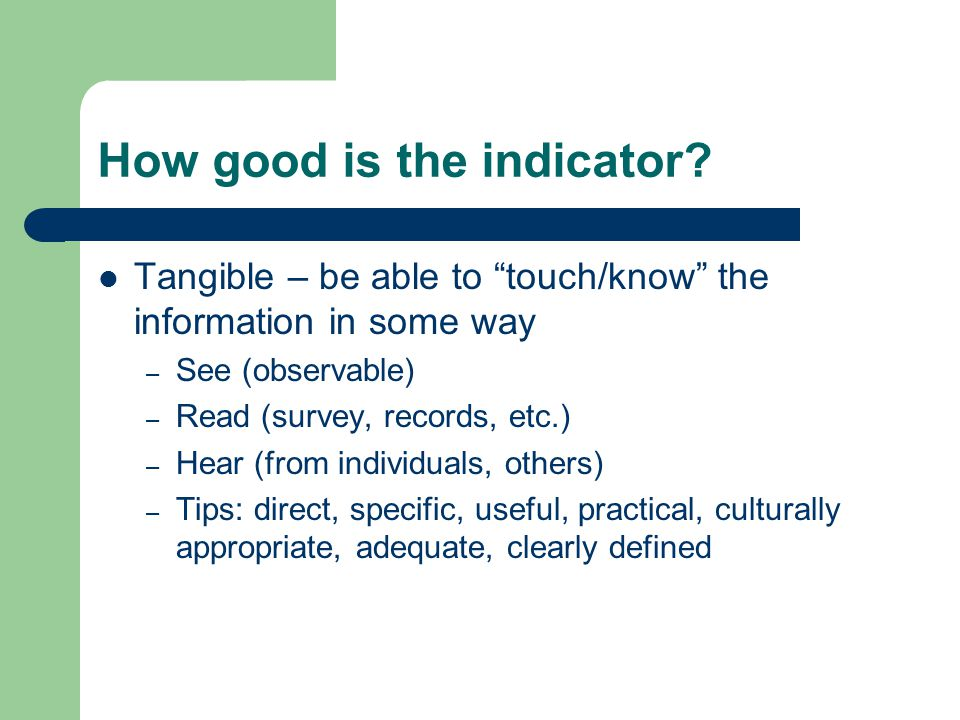 How good is the indicator.