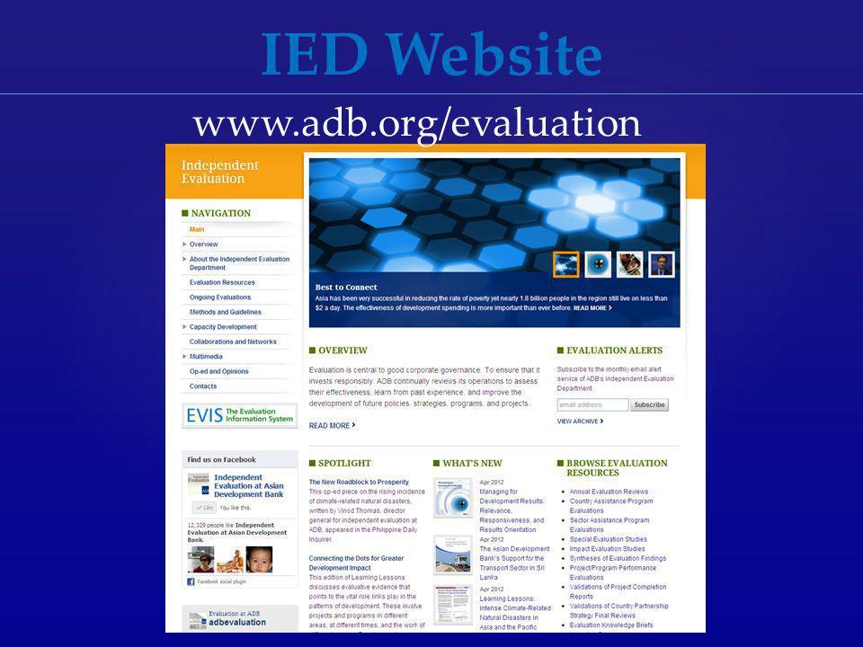 IED Website www.adb.org/evaluation