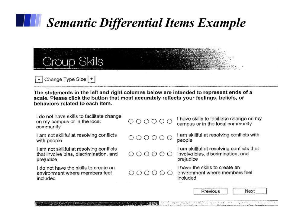 Semantic Differential Items Example