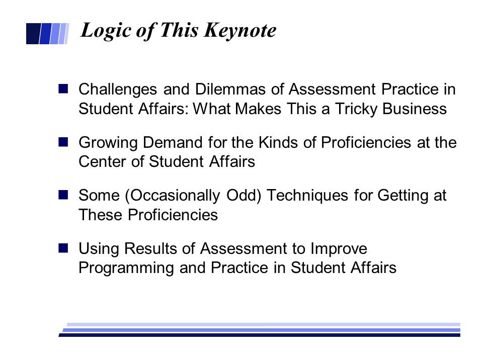 Logic of This Keynote Challenges and Dilemmas of Assessment Practice in Student Affairs: What Makes This a Tricky Business Growing Demand for the Kind