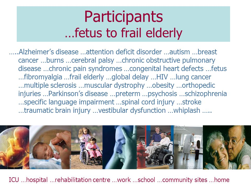 Participants …fetus to frail elderly …..Alzheimer's disease …attention deficit disorder …autism …breast cancer …burns …cerebral palsy …chronic obstructive pulmonary disease …chronic pain syndromes …congenital heart defects …fetus …fibromyalgia …frail elderly …global delay …HIV …lung cancer …multiple sclerosis …muscular dystrophy …obesity …orthopedic injuries …Parkinson's disease …preterm …psychosis …schizophrenia …specific language impairment …spinal cord injury …stroke …traumatic brain injury …vestibular dysfunction …whiplash …..