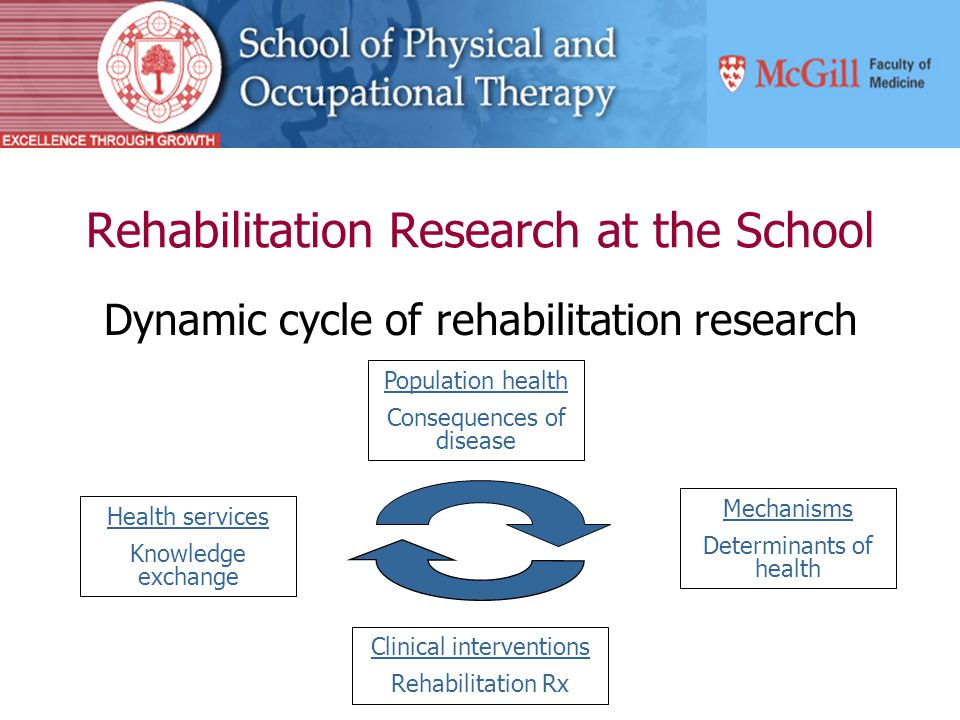 Rehabilitation Research at the School Dynamic cycle of rehabilitation research Population health Consequences of disease Mechanisms Determinants of health Health services Knowledge exchange Clinical interventions Rehabilitation Rx