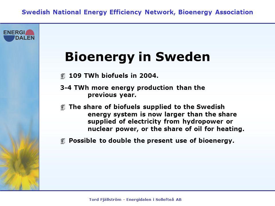 Tord Fjällström - Energidalen i Sollefteå AB Bioenergy in Sweden 4109 TWh biofuels in 2004.