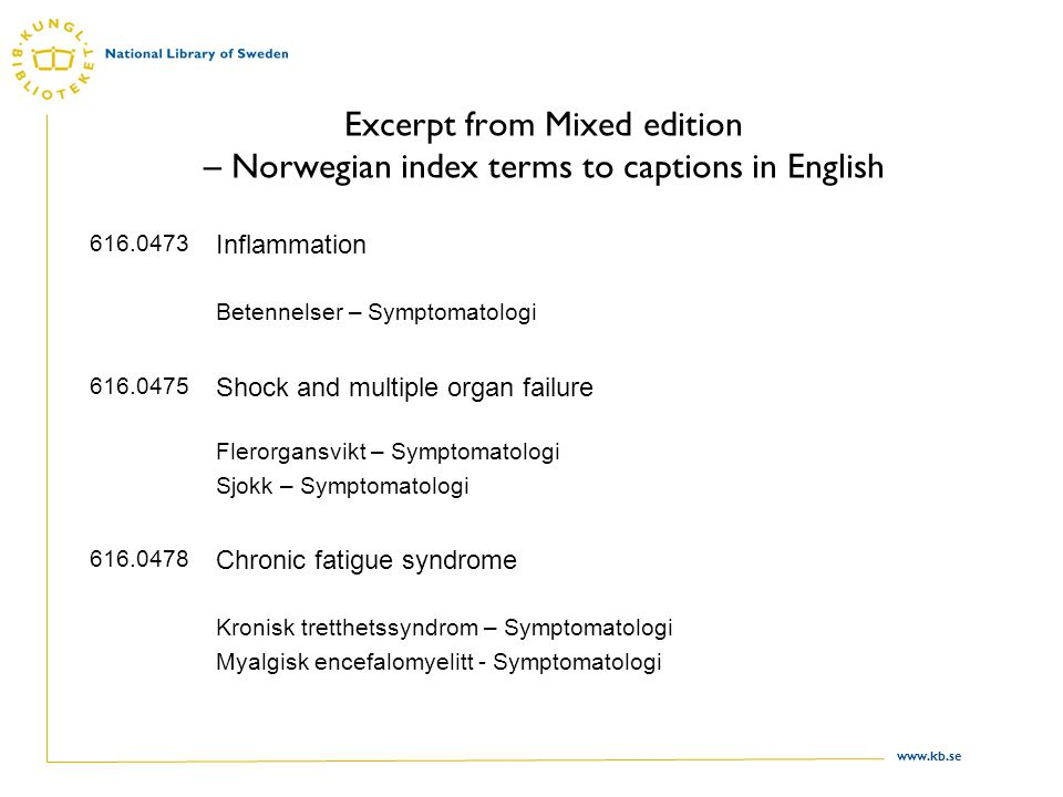 www.kb.se Excerpt from Mixed edition – Norwegian index terms to captions in English 616.0473 Inflammation Betennelser – Symptomatologi 616.0475 Shock and multiple organ failure Flerorgansvikt – Symptomatologi Sjokk – Symptomatologi 616.0478 Chronic fatigue syndrome Kronisk tretthetssyndrom – Symptomatologi Myalgisk encefalomyelitt - Symptomatologi