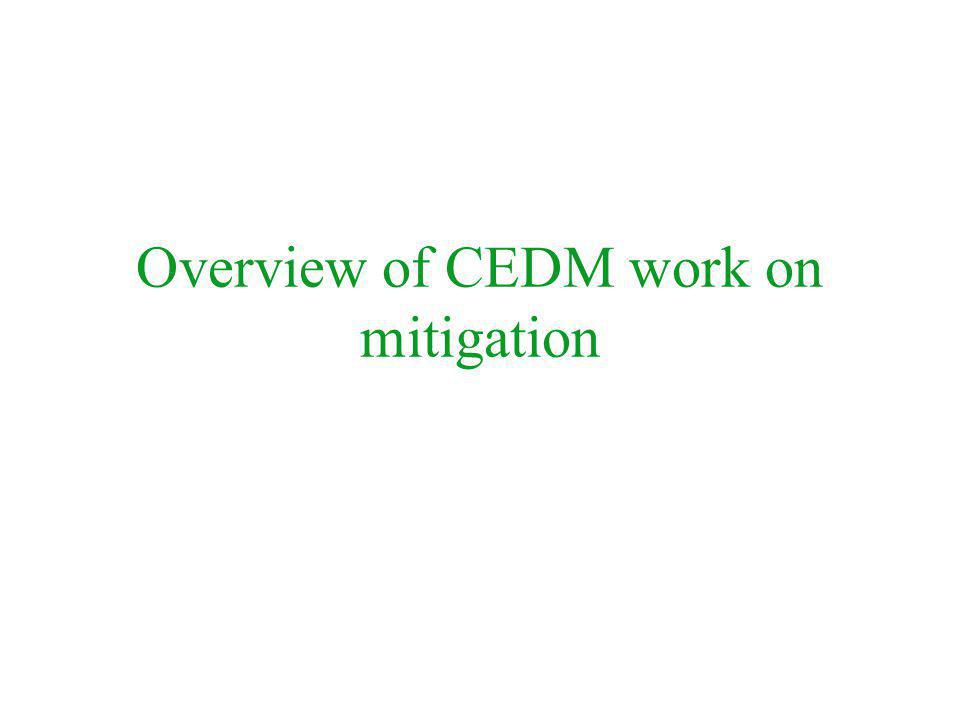 Overview of CEDM work on mitigation