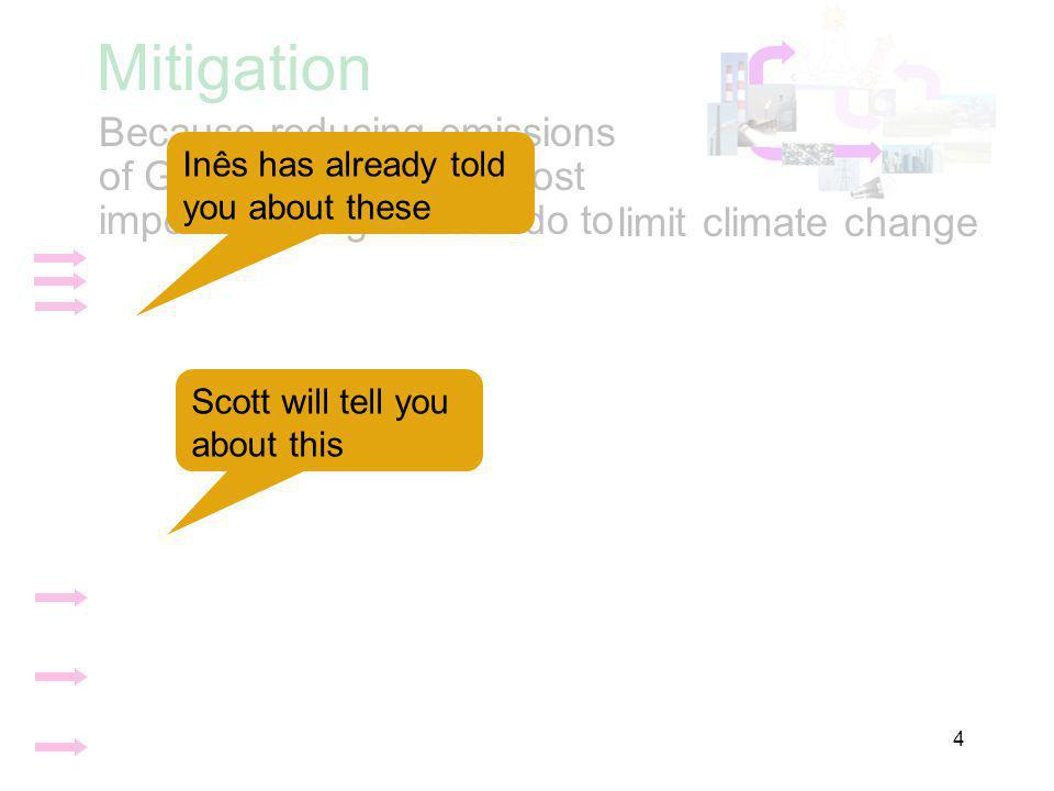 Mitigation Because reducing emissions of GHGs is the single most important thing we can do to limit climate change Inês has already told you about these Scott will tell you about this 4