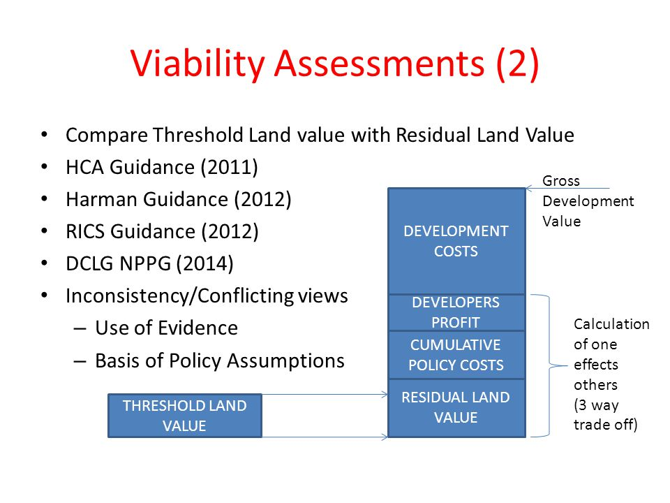 Viability Assessments (2) Compare Threshold Land value with Residual Land Value HCA Guidance (2011) Harman Guidance (2012) RICS Guidance (2012) DCLG NPPG (2014) Inconsistency/Conflicting views – Use of Evidence – Basis of Policy Assumptions THRESHOLD LAND VALUE RESIDUAL LAND VALUE CUMULATIVE POLICY COSTS DEVELOPERS PROFIT DEVELOPMENT COSTS Gross Development Value Calculation of one effects others (3 way trade off)