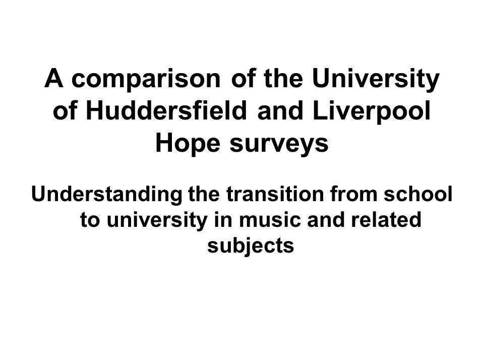 A comparison of the University of Huddersfield and Liverpool Hope surveys Understanding the transition from school to university in music and related subjects