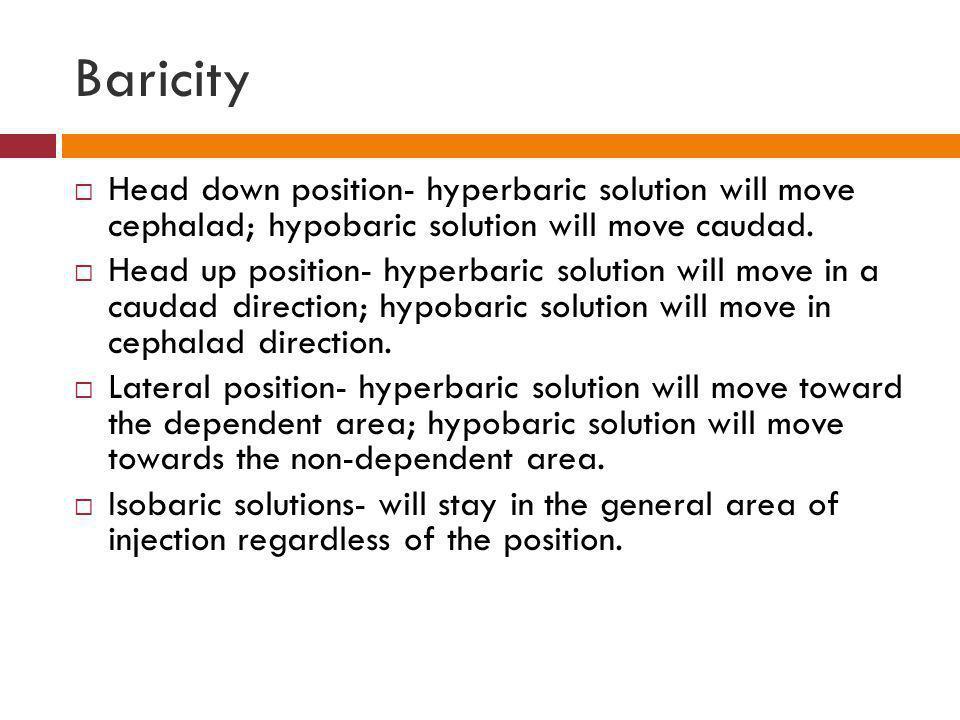 Baricity  Head down position- hyperbaric solution will move cephalad; hypobaric solution will move caudad.  Head up position- hyperbaric solution wi