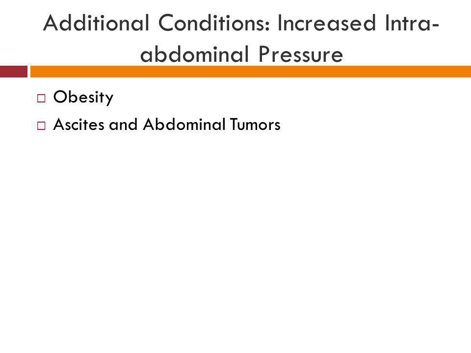 Additional Conditions: Increased Intra- abdominal Pressure  Obesity  Ascites and Abdominal Tumors