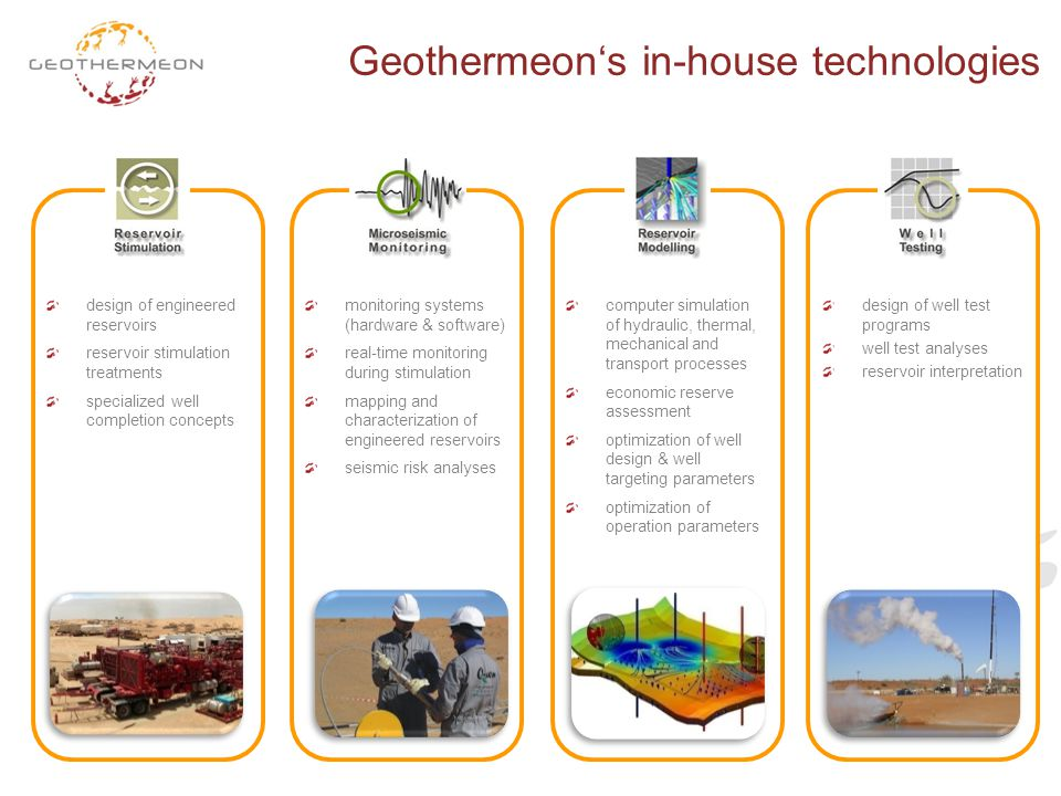 Geothermeon's in-house technologies design of engineered reservoirs reservoir stimulation treatments specialized well completion concepts monitoring s