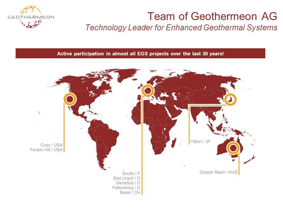 Team of Geothermeon AG Technology Leader for Enhanced Geothermal Systems Active participation in almost all EGS projects over the last 30 years!