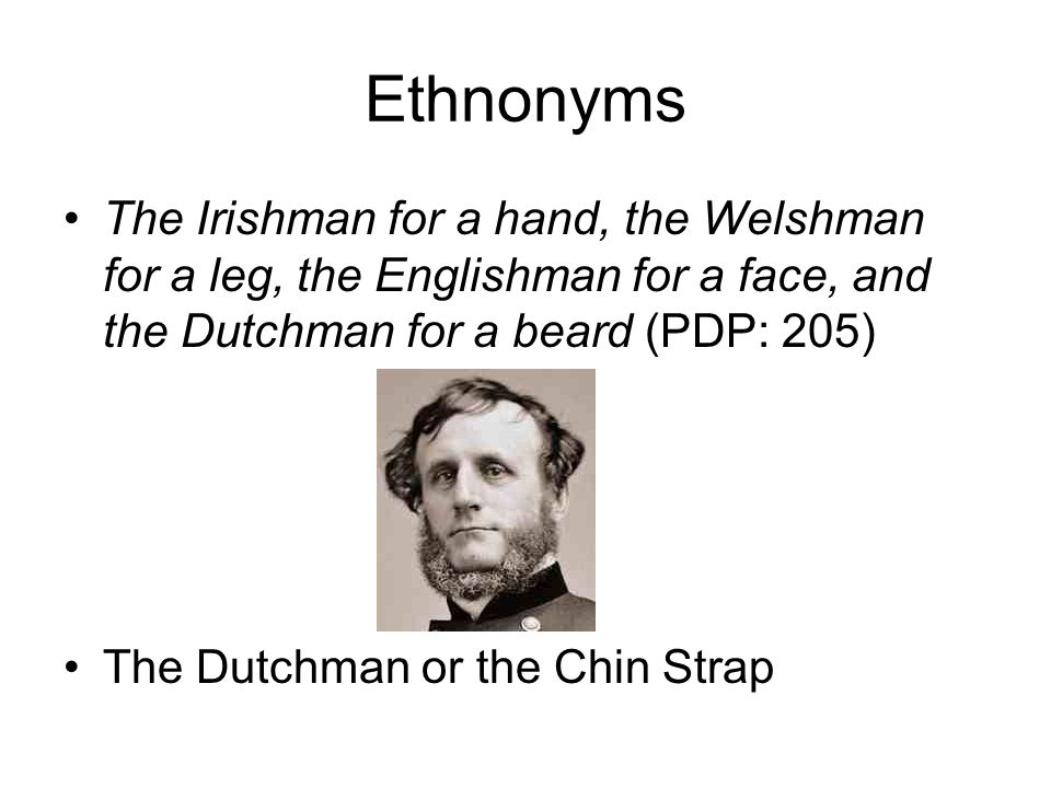 The Irishman for a hand, the Welshman for a leg, the Englishman for a face, and the Dutchman for a beard (PDP: 205) The Dutchman or the Chin Strap