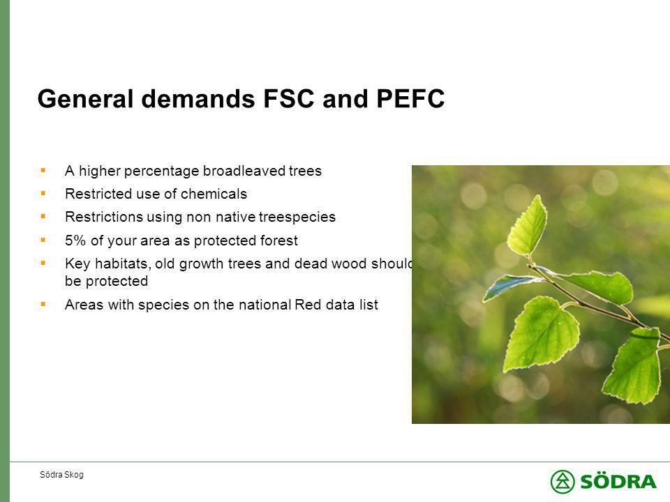 Södra Skog General demands FSC and PEFC  A higher percentage broadleaved trees  Restricted use of chemicals  Restrictions using non native treespecies  5% of your area as protected forest  Key habitats, old growth trees and dead wood should be protected  Areas with species on the national Red data list