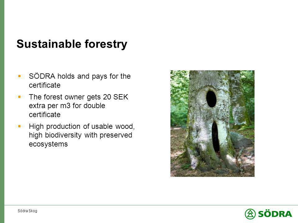Södra Skog Sustainable forestry  SÖDRA holds and pays for the certificate  The forest owner gets 20 SEK extra per m3 for double certificate  High production of usable wood, high biodiversity with preserved ecosystems