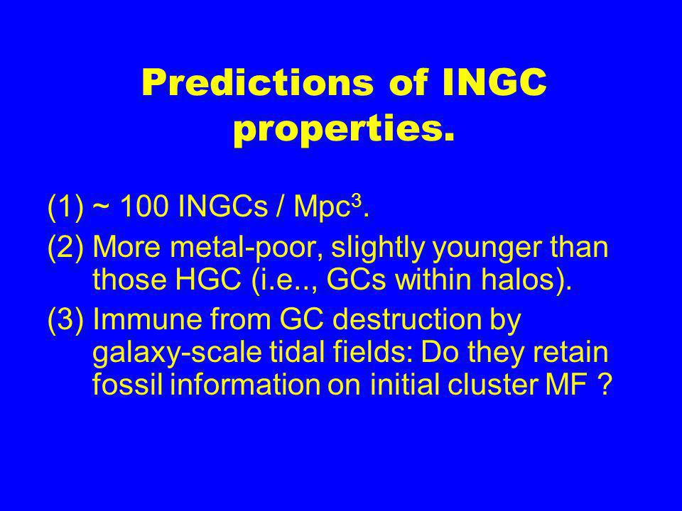 Predictions of INGC properties. (1)~ 100 INGCs / Mpc 3.