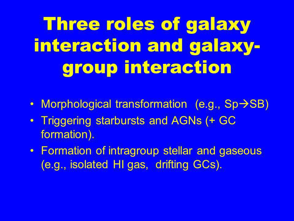 Three roles of galaxy interaction and galaxy- group interaction Morphological transformation (e.g., Sp  SB) Triggering starbursts and AGNs (+ GC formation).