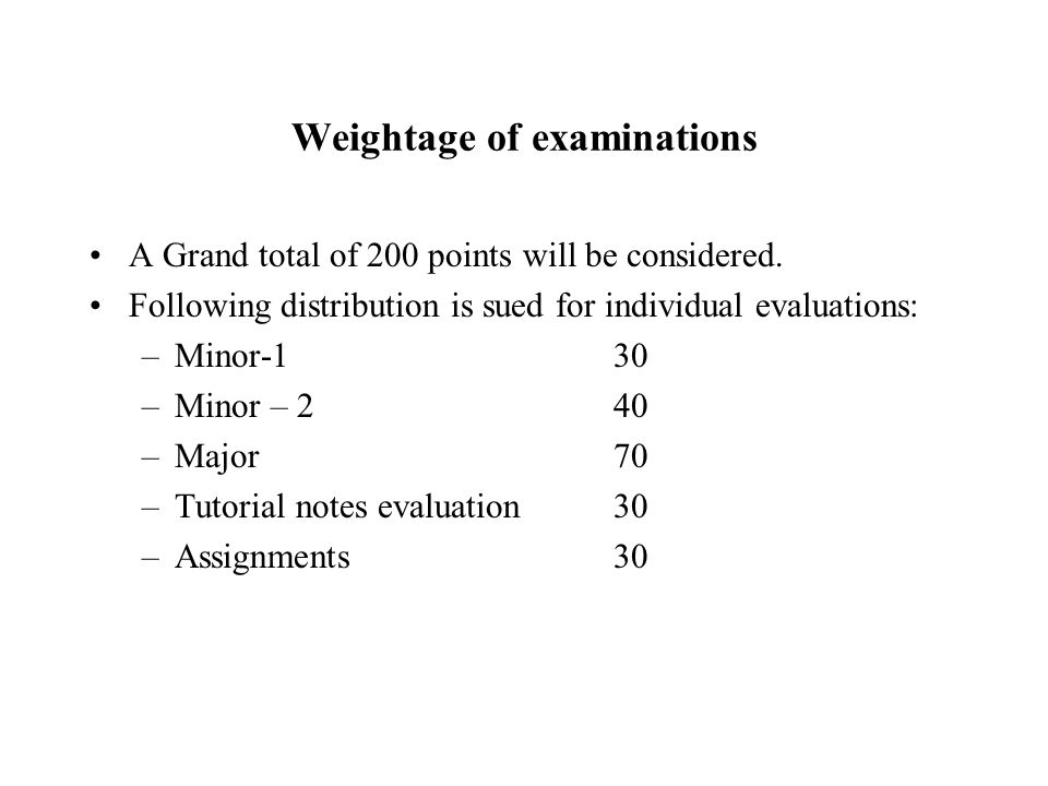 Format of Examinations Minor Examinations: each of one hour duration.