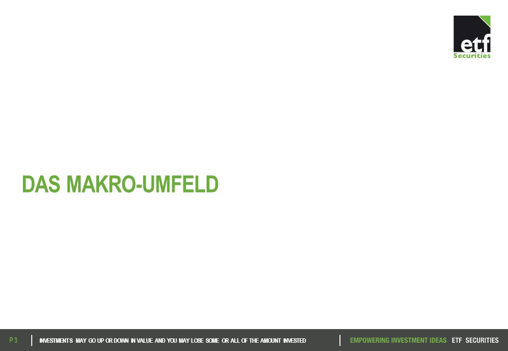 DAS MAKRO-UMFELD INVESTMENTS MAY GO UP OR DOWN IN VALUE AND YOU MAY LOSE SOME OR ALL OF THE AMOUNT INVESTED P 3