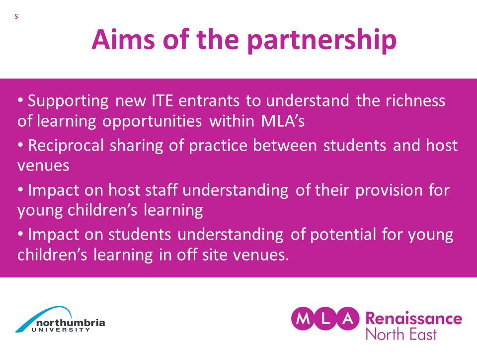 Aims of the partnership Supporting new ITE entrants to understand the richness of learning opportunities within MLA's Reciprocal sharing of practice between students and host venues Impact on host staff understanding of their provision for young children's learning Impact on students understanding of potential for young children's learning in off site venues.