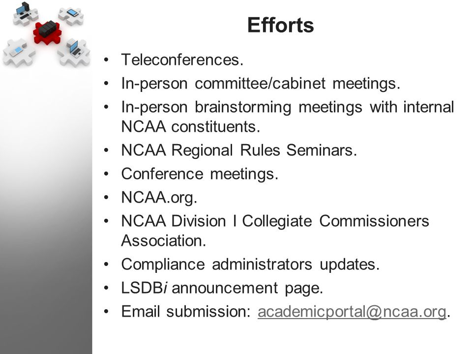 Efforts Teleconferences. In-person committee/cabinet meetings. In-person brainstorming meetings with internal NCAA constituents. NCAA Regional Rules S