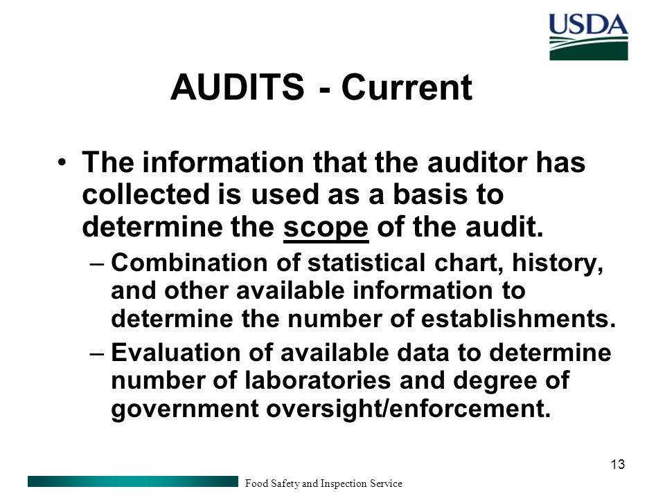 Food Safety and Inspection Service 13 AUDITS - Current The information that the auditor has collected is used as a basis to determine the scope of the audit.