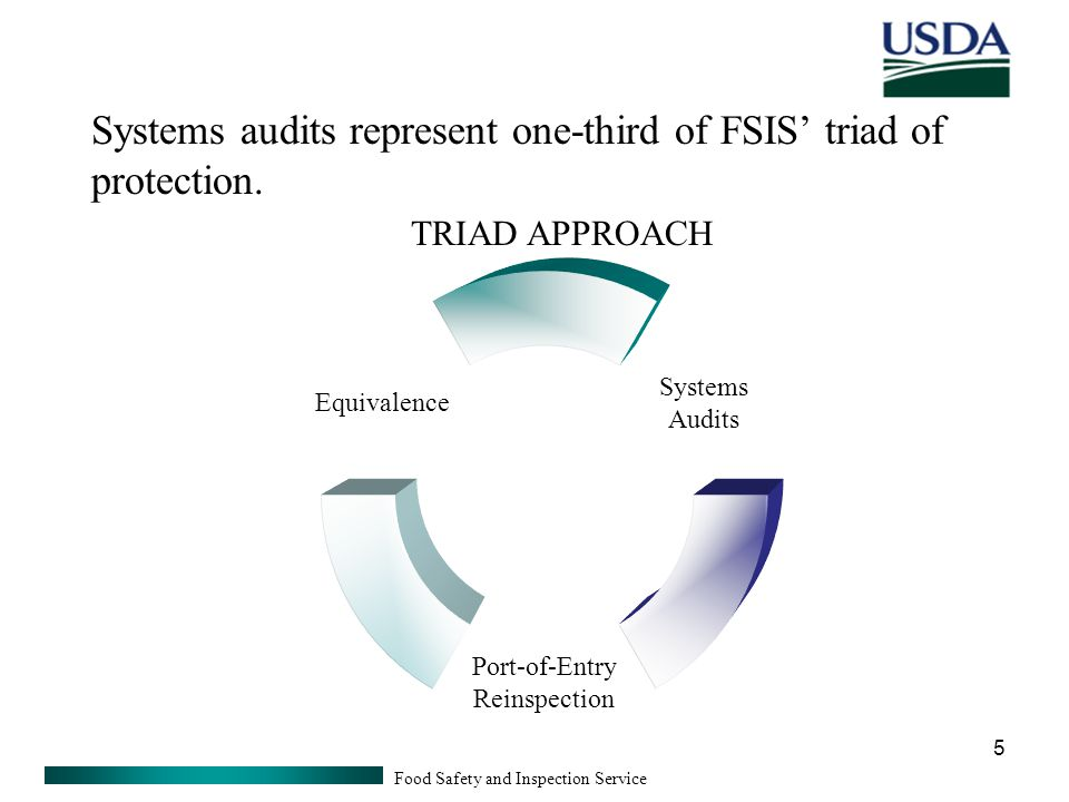 Food Safety and Inspection Service 5 Systems Audits Port-of- Entry Reinspection Equivalence Systems audits represent one-third of FSIS' triad of protection.