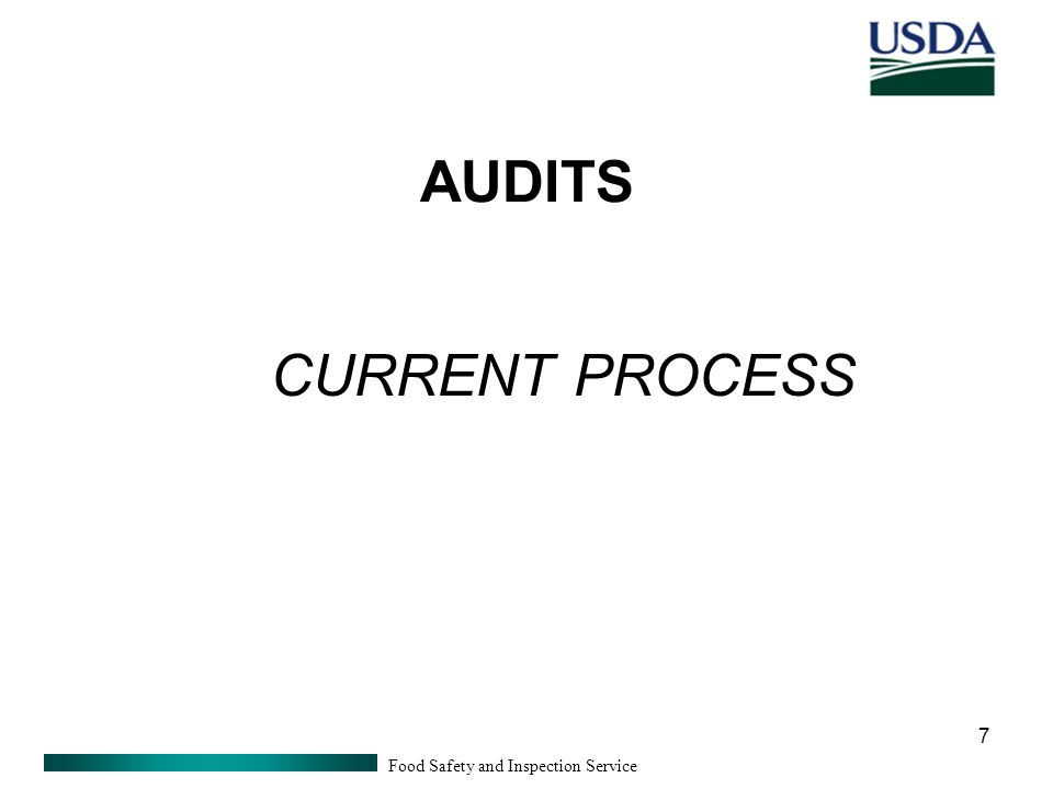 Food Safety and Inspection Service 7 AUDITS CURRENT PROCESS