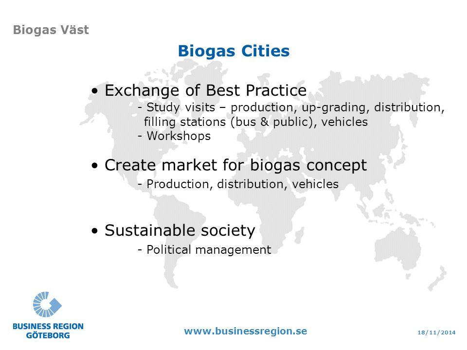 18/11/2014 www.businessregion.se Biogas Väst Sustainable society - Political management Exchange of Best Practice - Study visits – production, up-grading, distribution, filling stations (bus & public), vehicles - Workshops Create market for biogas concept - Production, distribution, vehicles Biogas Cities