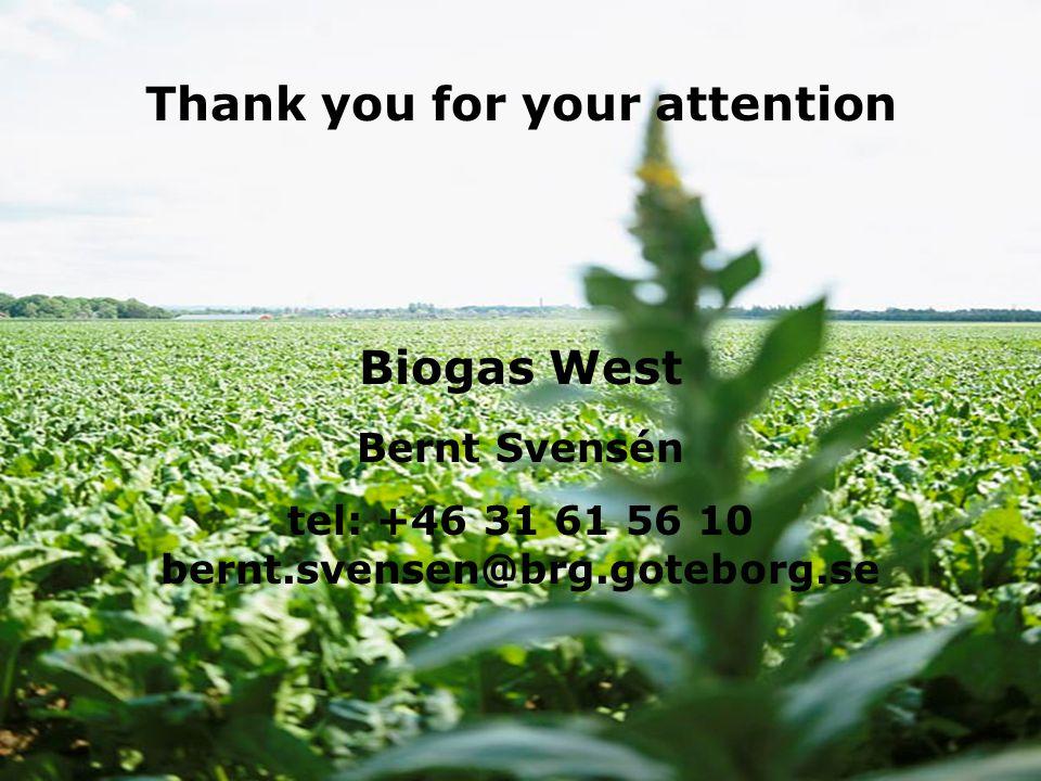 18/11/2014 www.businessregion.se Biogas Väst Bernt Svensén tel: +46 31 61 56 10 bernt.svensen@brg.goteborg.se Biogas West Thank you for your attention