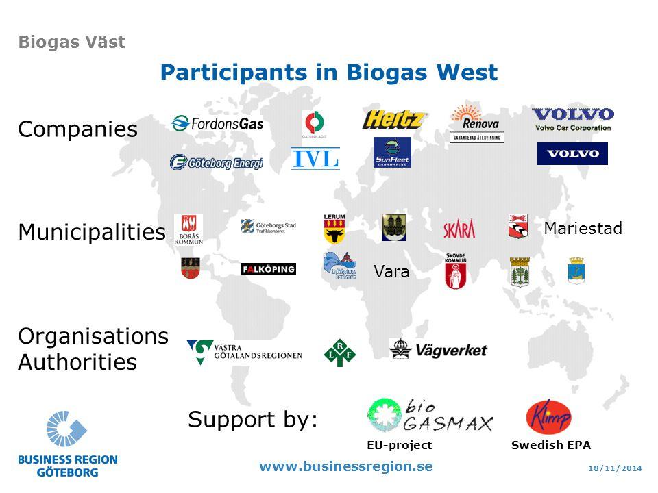 18/11/2014 www.businessregion.se Biogas Väst Participants in Biogas West Companies Mariestad Vara Municipalities Support by: Swedish EPA Organisations Authorities EU-project