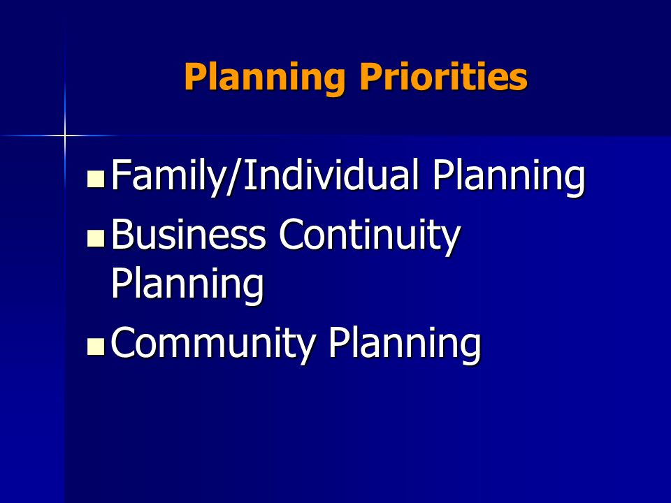 Planning Priorities Family/Individual Planning Family/Individual Planning Business Continuity Planning Business Continuity Planning Community Planning Community Planning