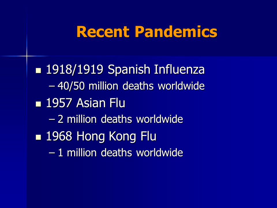 Recent Pandemics 1918/1919 Spanish Influenza 1918/1919 Spanish Influenza –40/50 million deaths worldwide 1957 Asian Flu 1957 Asian Flu –2 million deaths worldwide 1968 Hong Kong Flu 1968 Hong Kong Flu –1 million deaths worldwide