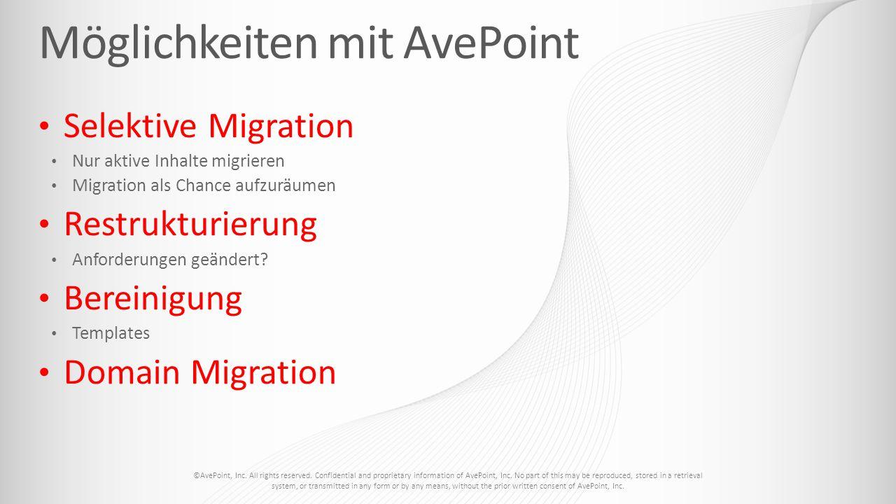 Selektive Migration Nur aktive Inhalte migrieren Migration als Chance aufzuräumen Restrukturierung Anforderungen geändert? Bereinigung Templates Domai