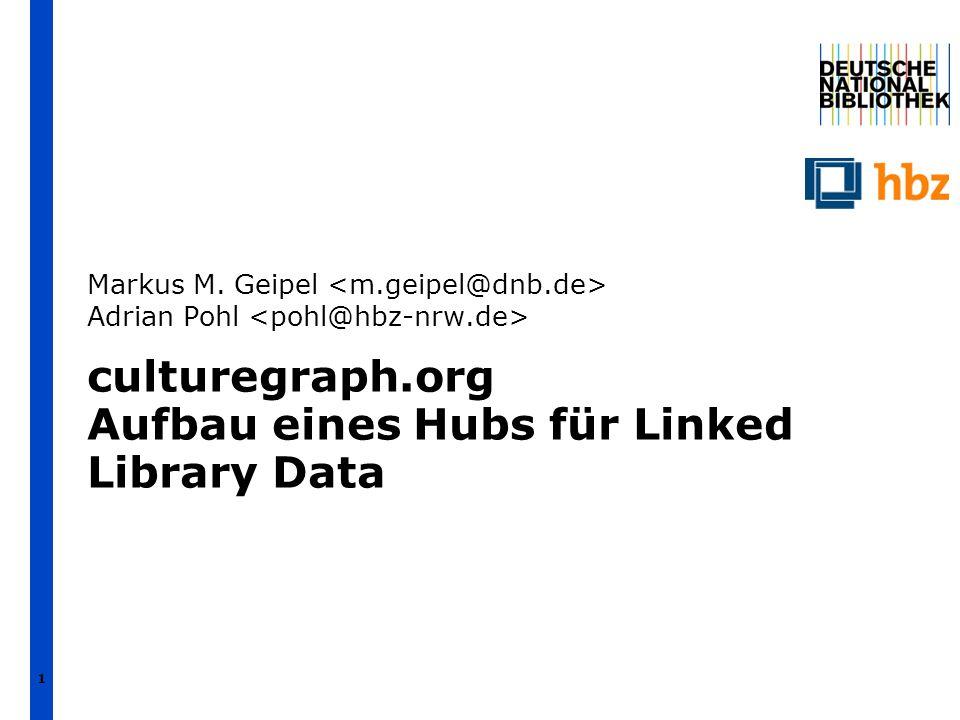 1 culturegraph.org Aufbau eines Hubs für Linked Library Data Markus M. Geipel Adrian Pohl