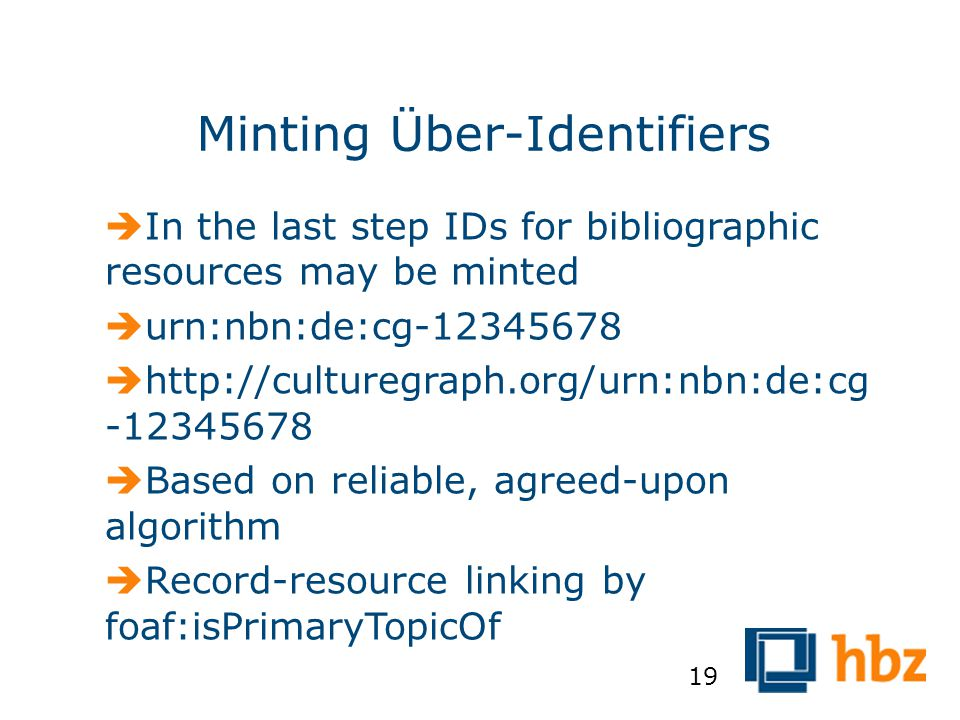 Minting Über-Identifiers  In the last step IDs for bibliographic resources may be minted  urn:nbn:de:cg-12345678  http://culturegraph.org/urn:nbn:d