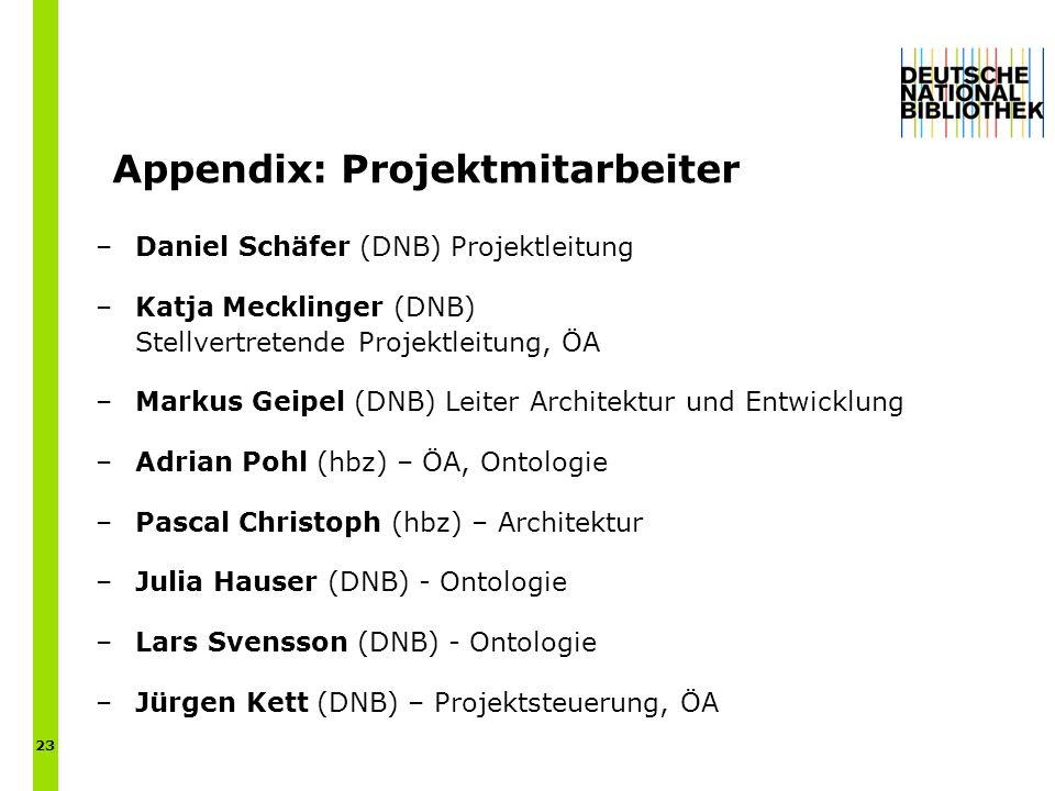 Appendix: Projektmitarbeiter –Daniel Schäfer (DNB) Projektleitung –Katja Mecklinger (DNB) Stellvertretende Projektleitung, ÖA –Markus Geipel (DNB) Leiter Architektur und Entwicklung –Adrian Pohl (hbz) – ÖA, Ontologie –Pascal Christoph (hbz) – Architektur –Julia Hauser (DNB) - Ontologie –Lars Svensson (DNB) - Ontologie –Jürgen Kett (DNB) – Projektsteuerung, ÖA 23