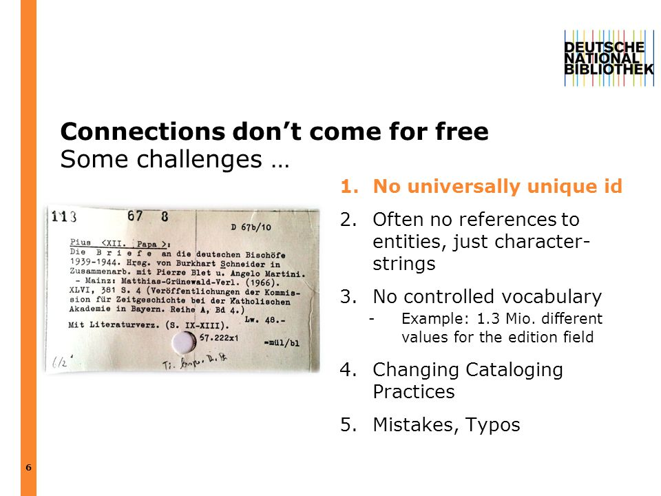 Connections don't come for free Some challenges … 1.No universally unique id 2.Often no references to entities, just character- strings 3.No controlle