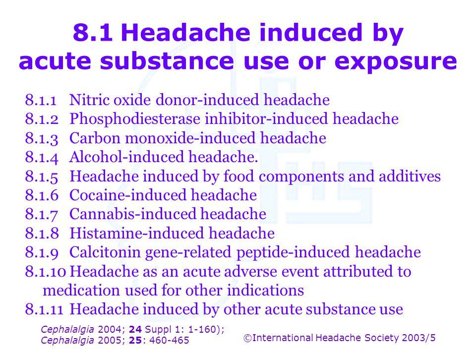 Cephalalgia 2004; 24 Suppl 1: 1-160); Cephalalgia 2005; 25: 460-465 ©International Headache Society 2003/5 8.1Headache induced by acute substance use