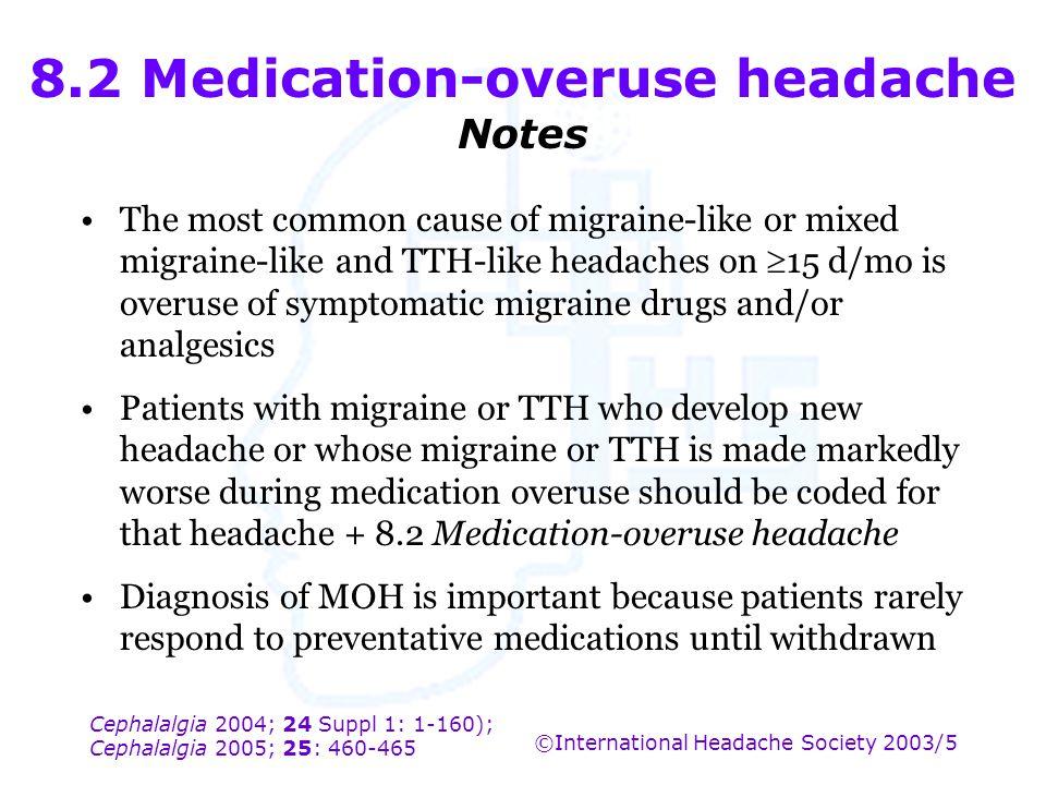 Cephalalgia 2004; 24 Suppl 1: 1-160); Cephalalgia 2005; 25: 460-465 ©International Headache Society 2003/5 8.2 Medication-overuse headache Notes The m