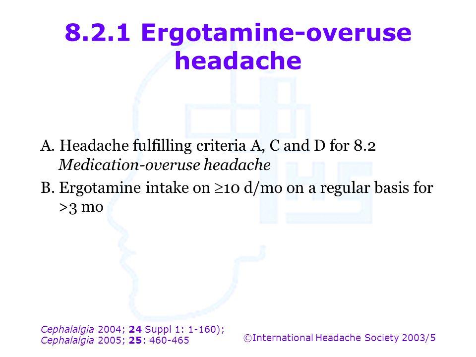 Cephalalgia 2004; 24 Suppl 1: 1-160); Cephalalgia 2005; 25: 460-465 ©International Headache Society 2003/5 8.2.1 Ergotamine-overuse headache A. Headac
