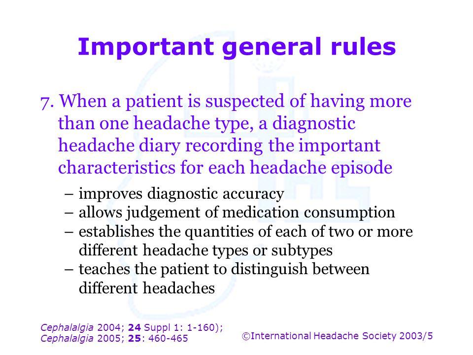 Cephalalgia 2004; 24 Suppl 1: 1-160); Cephalalgia 2005; 25: 460-465 ©International Headache Society 2003/5 Important general rules 7. When a patient i