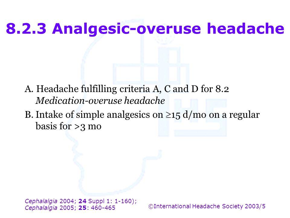 Cephalalgia 2004; 24 Suppl 1: 1-160); Cephalalgia 2005; 25: 460-465 ©International Headache Society 2003/5 8.2.3 Analgesic-overuse headache A. Headach